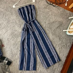 Strapless Navy Blue Cropped Wide Leg Jumpsuit